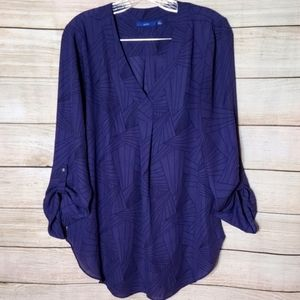 Apt. 9 Purple Printed Pullover Blouse, Size Large